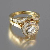 Роскошные женские обручальные кольца Установите винтажный кристалл 18 кт желтый золотой цвет стекаруемая кольца обещание обручальные кольца для женщин 541 Q2