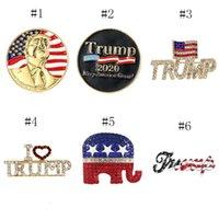 Трамп Брошь Блестящий американский флаг Брошь Pin Commorative Брошь Кристаллические стразы Броши отвороты Булавки для 2020 президентских выборов