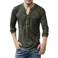 Men T-shirt V-neck Long Mouw tea Tops Stylish buttons T-shirt 2020 Reclaim Casual Henley Shirt Effects Men's clothing 5XL