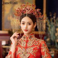 Janevini Vintage Çin Kırmızı Çiçek Düğün Kraliçe Coronet Taç Kostüm Gelin Tokalar Püsküller Kafa Takı Aksesuarları Saç Klipler Barret