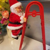 Christmas Electric Toy Santa Claus Climbing Ladder Battery Powered Plush Doll Xmas Decor for Your Home 2020ing G0930