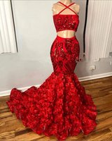 African Black Girls Long Prom Dresses 2021 Boat Neck Red Sequin 3D Rose Two Piece Mermaid Women Evening Occasion Dress