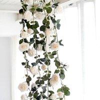180см искусственная роза цветок виноградной лозы свадьбы декоративные реальные шелковые цветы с зелеными листьями для дома висит гирлянды декор венков