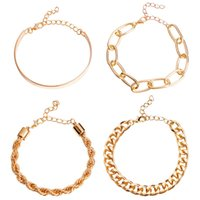 4in1 Thick Chain Miami Curb Cuban Lock Pendant Bracelets Bangles Punk Metal Twisted Rope Imitation Bracelet Jewelry