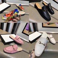 2021 Мужчины Роскошные Металлические Кожаные Мокасины Мюллер Дизайнерская Тапочка Женская Обувь с пряжкой Мода Принстаун Тапочки Брайна Повседневная Мульс Квартиры 35-45 Tusi #
