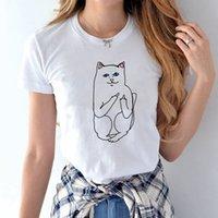 Moda marca bolso do dedo médio Barato gato amantes versátil homens e mulheres redondo pescoço de manga curta t-shirt