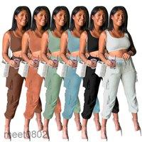 2021 Sommer Neue Damen Designer Mode U Hals Große Frauen Yoga Anzug Hosen Zweiteiler Sets Casual Solid Color Weste Hose Slim Outfits