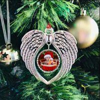 Sublimação Blanks Decorações de enfeites de Natal Angel Wings em branco Adicione sua própria imagem e plano de fundo