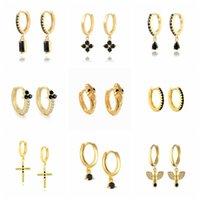 Hoop & Huggie CANNER Black Zirconia Hoops Ear Rings For Women Teens Anniversary Gift 925 Sterling Silver Cross Snake Earring Brinco