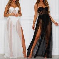Damen Kleid Sommer Frauen Mesh Gaze Lange sexy Strappy Striche Sommerkleid Einteilige Perspektive Sleeveless Backless Baden Strand kleiden