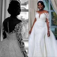 Mermaid Wedding Dresses with Overskirt Detachable Skrit Lace Long Sleeve Applique Bridal Gown Train Church Bride Dress Vestido de