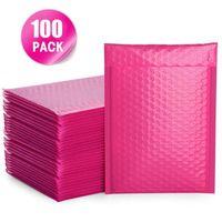 100 pcs bolha mailers rosa poli mailer auto selo acolchoado envelopes presentes sacos para livro revista revestida wrap