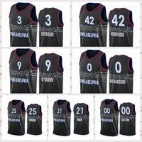 2021 Недорогие мужские Ретро Классический Баскетбол Джерси Лиллард 0 Джоэл Embiid 21 Бен Винтаж Дышащие Шорты Размер S-2XL Синий Белый Черный Красный