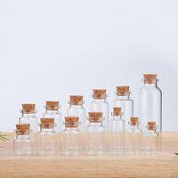 Оптовая мини-древесный пробковый стеклянный стеклянные бутылки 2 мл 3 мл 4 мл 5 мл 6 мл 7 мл 10 мл 12 мл 15 мл 20 мл.