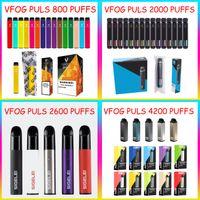 Оригинальный VFOG назад Одноразовые ручки Vape E Cigarettes 800 2000 2600 4200 Puff Mathing 1,8 6,8 мл батареи батареи 500 1000 мАч слойки для выбора. Разнообразные стили на выбор