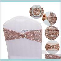 Textiles Home Garden150pcs Качество Средство блестки Sashes Розовые Золотые растягивающиеся полосы с круглой пряжкой Drop Доставка 2021 XFBTJ
