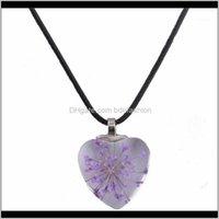 Chains Jewelry Dandelion Dried Flowers Necklaces & Pendants Handmade Heart Crystal Glass Bijouterie Choker Necklace Women1 Drop Delivery 2021