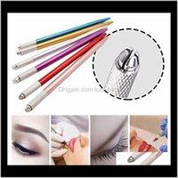 Pen de maquillage de maquillage Semi-permanent de 100 pcs Maquillage de maquillage 3D outils manuels de tatouage de tatouage Microblade Pen 5 couleurs JDPRU W95RK