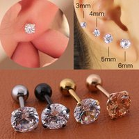 Dangle & Chandelier 1 Pcs bag Size 3 4 5 6mm 4 Colors Medical Titanium Needle True Zircon Ear Studs Boys and Girls for Diy Party Earrings