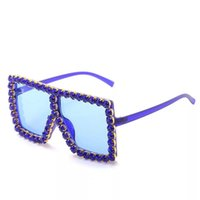 Square 18 Colors Women Luxury Acrylic Rhinestone Sunglasses Oversize Colorful Diamond Frame Shades Big Sun Glasses Whole