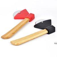 Cuchillos de pastel mediana redondo Tallo de bambú Pizza Cuchillo Pasteles para hornear Herramienta de cocina Resistencia al desgaste EWF5965
