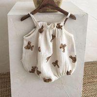 Rompers 2021 Baby Girl Sleeveless Sling Bodysuit Bear Pattern Overalls For Boys Kids Jumpsuit Cute Print Onesie 0-24M