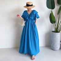 Casual Dresses [Ewq] vestido casual chique de tendência, moda coreana feminina, cor sólida, gola em v, manga voadora solta, com babados, para verão, J63U
