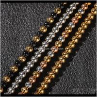 4 мм 6 мм 4 цвета парней классический золотой католицизм бусины ожерелье цепи мужчин и женщин из нержавеющей стали хип хмель ювелирные изделия Nxcja myhqt