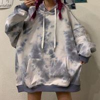 Day Plus Velvet Thick Tie-dye Hoodie Ulzzang Korea FB Loose Harajuku Retro Women's Sweatshirt Oversize Itself Women Clothing Hoodies & Sweat