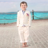 Beige Boys Suits 2019 for Beach Wedding Kids Blazer Notched Child Groom Tuxedos 3 Pieces (Jacket+Pants+Vest) Boys Forma