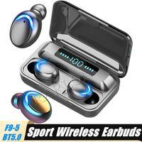 F9-5C TWS بلوتوث اللاسلكية سماعة 5.0 سماعات سماعات سماعات 9D ستيريو الرياضة الموسيقى الصمام للماء شاشة العرض مع بطارية البنك