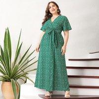 Womens Plus Size Dresses Casual Summer Maxi Dress Women Green Floral Sashes Belt Split Flared Short Sleeve V-neck Boho Holiday Robes