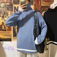 Men's Sweaters Oversized 3XL Winter Men Pullovers Sweater Mock Neck Jumpers Male Patchwork Simple Slim Student Harajuku Knitted Loose