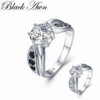 Cluster Rings [BLACK AWN] Vintage 4g 925 Sterling Silver Fine Jewelry Round Bague Black Spinel Wedding For Women Girl Party Gift C458
