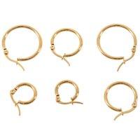 Hoop & Huggie 3 Pairs 15mm 20mm 25mm Stainless Steel Huggies Earrings Set Woman Gold
