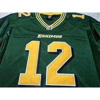 Benutzerdefinierte Bucht Jugendfrauen Vintage Edmonton Eskimos # 12 Jason Maas Football Jersey Größe S-5XL oder benutzerdefinierte ja name oder nummer jersey
