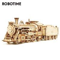 Robotime rokr trem 3D de madeira puzzle de brinquedo conjunto locomotiva modelo edifício kits para crianças crianças de aniversário de crianças q1119