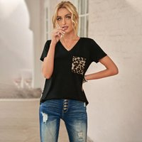T-shirt da donna Yitonglian Manica corta Solald Solid Summer V-Neck Leopard Patchwork Casual Tops LC578