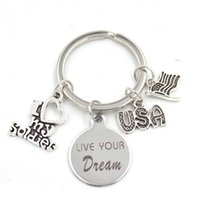 New Arrival Stainless Steel Key Chain Key Ring USA Flag I Love my Soldier Keychain Keyring Soldier Gifts for Men Women Jewelry GWD6553