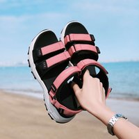 Beach sho women's sports thick soled high rise outdoor slippers seaside holiday leisure antiskid wading quick drying sandals