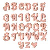 핑크 색상 심장 수건 자수 셔닐 실 패치 패브릭 브랜드 편지 스티커 패치 워크에 맞춤 봉합 내가 당신을 사랑한다. DIY 액세서리