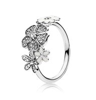 Authentic 925 Sterling Silver White enamel Flowers RING For Pandora Beautiful Women Wedding Ring Jewelry With Original Box wjl3657