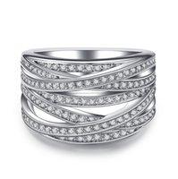 Gümüş Renk Birden Çok Satır Yüzük Parlak CZ Metalik OL Stil Ofis Bayan Kadınlar için Çok Yönlü Parmak Moda Takı