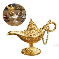 Newfairy Tale Aladdin Magic Lamp Vintage Censer Creativo Metallo Aroma Burner Burner Incenso Bruciatori di incenso Regalo di Natale 5 colori EWA5974