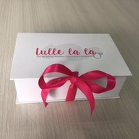 Gift Wrap 500PCS lot Custom Luxury Collapsible Hard Cardboard Packaging Paper Box With Silk Ribbon Closure Printed Logo