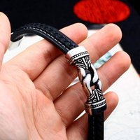 Link, Chain Steel Soldier Viking Celtics Rune Bracelet Norse Hammer Bangle Leather Wrap Amulet Talisman Jewelry For Men And Women