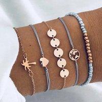 Mode Liebe Hand String Kupfer Kette Schmuck Set Kokosnussbaum Karte Gewebt Fünf-teiliges Set Armband