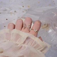 Moda coreana 14K Real Gold Gold Korea squisita micro-intarsiato Zircone ala ala ala anello aperto per le donne nuziale anelli nuziali cluster