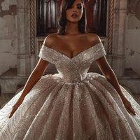 Off the Shoulder Giltter Wedding Dress Plus Size Dubai Sequined Ball Gown Chapel Train Bridal Gowns Customise vestido de novia