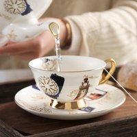 Cups & Saucers Porcelain Tea Cup Saucer Gold Spoon Set Ceramic Coffee Elegant Teacup Marble Espresso Cafe Taza Drinkware EE50BD